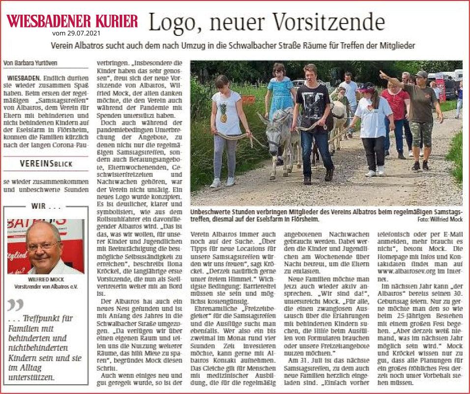 Wiesbadener Kurier zu unserem ALBATROS e.V.